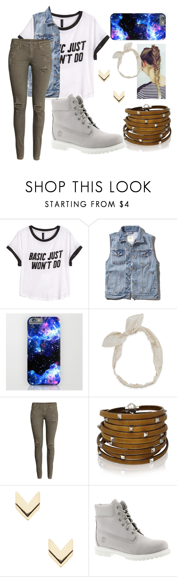 """""""Alphie 2"""" by theblueraider ❤ liked on Polyvore featuring H&M, Abercrombie & Fitch, Carole, Sif Jakobs Jewellery, Leslie Danzis and Timberland"""