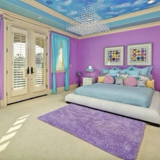 Bedroom Teenage Small Girls Room Purple Large Size: Purple And Blue Bedroom { Requested