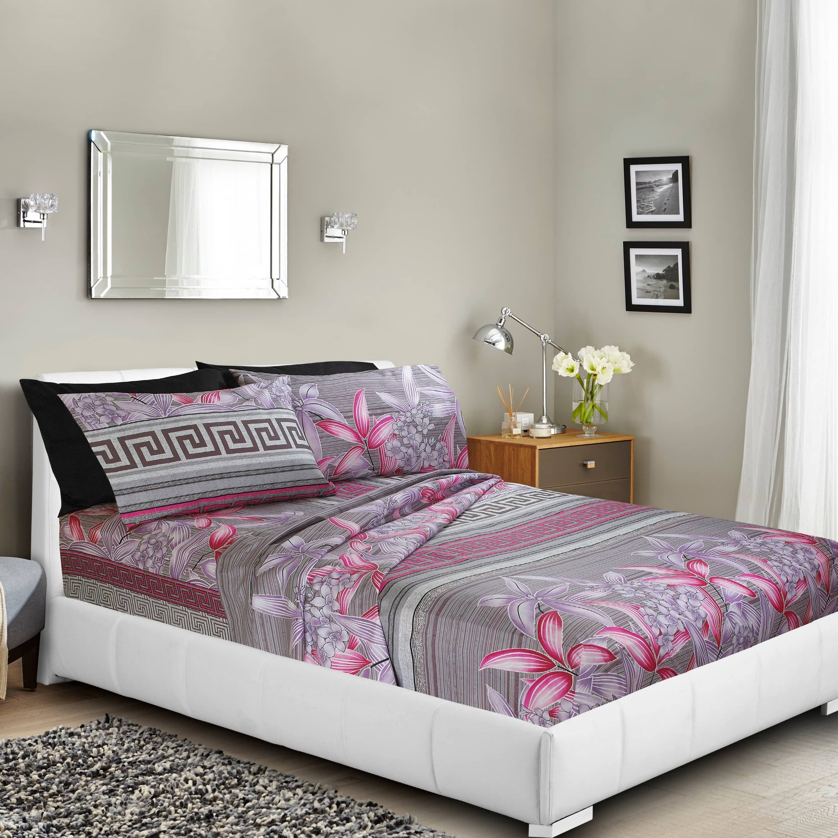 Printed Bed Sheet Set, Deep Pocket Fitted Sheets, Double Set Of Pillowcases    By Clara Clark