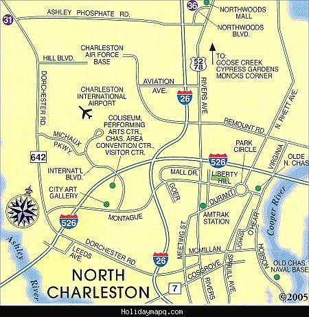 awesome Map of North Charleston Holidaymapq Pinterest