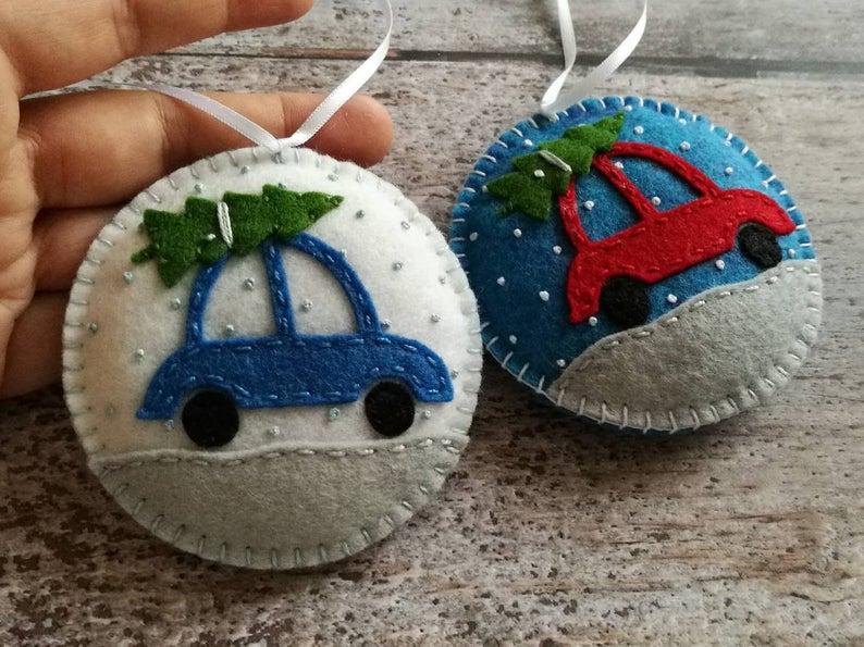 Christmas Car ornament, Felt Car with Christmas Tree ornament, Felt Christmas Snowing decoration, Christmas decor