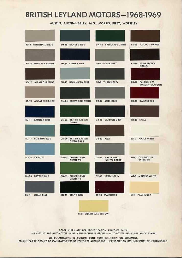 British motor colour chart 1968 1969 austin 1800 pinterest british motor colour chart 1968 1969 sciox Choice Image