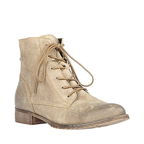 Steve Madden Rawling lace-up boot with its soft distressed suede treatment and sleek back zip closure that opens to reveal the colored lining