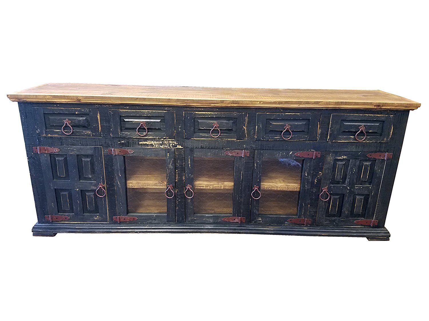 Amazon Com Hi End Rustic Medieval Hand Scrape Tv Stand Buffet 80 Inch Long 80 Inch Black Kitchen Amp Dining Rustic Buffet Tv Stand