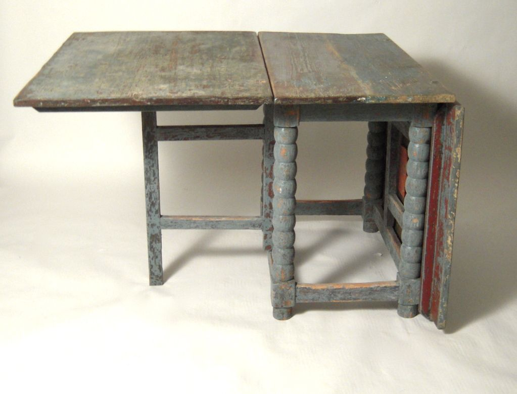 Old Rectangular Drop Leaf Dining Table For Small Rustic Dining