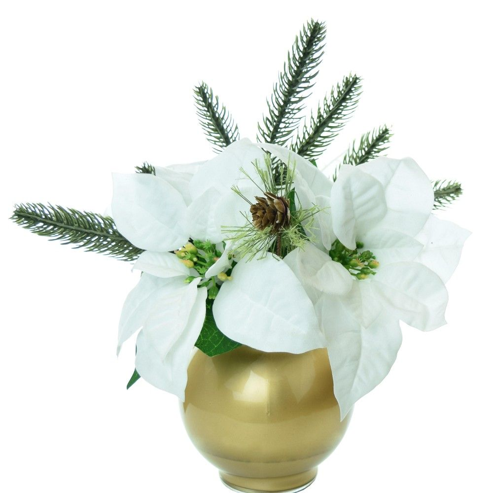 Artificial Poinsettia Arrangement With Gold Glass Bowl Vase White 9 Lcg Florals Artificial Flower Arrangements Types Of Flower Arrangement Artificial Flowers