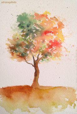 40 Trees Project Adriana Galindo Drigalindo 2020 Suluboya Cicekler Sonbahar Agaclari Soyut Agaclar