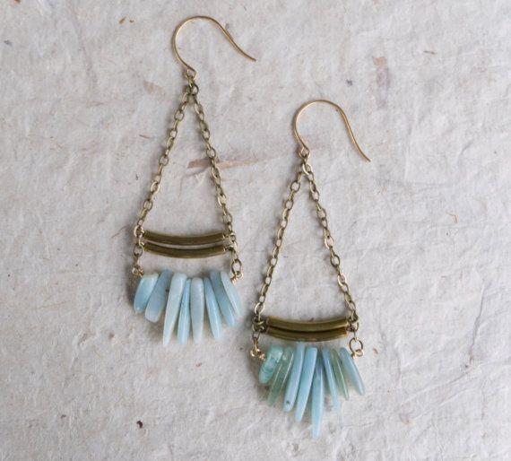 Mint Boho earrings amazonite mint green by KristineRagusDesigns