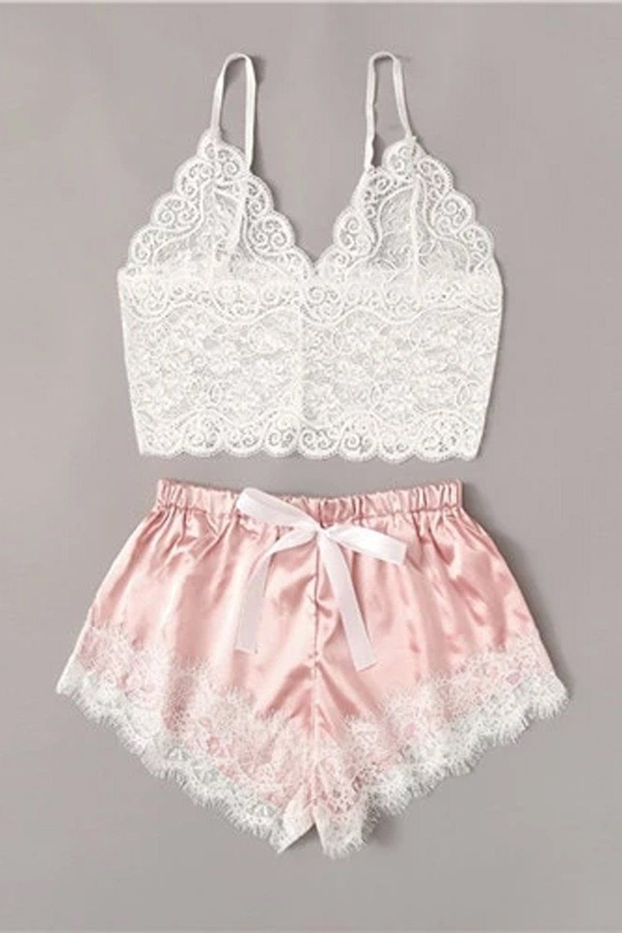 Felicity Floral Lace Cami Top With Satin Shorts Li