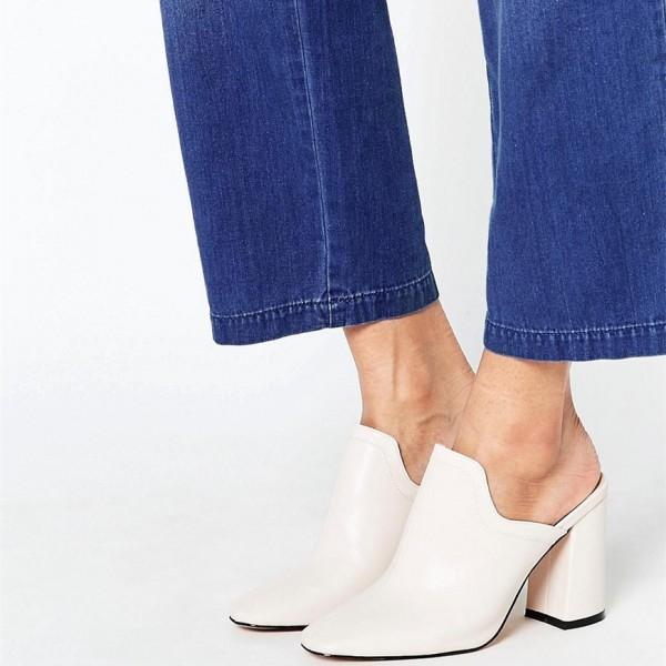 Ivory Mule Heels Closed Toe Block Heels