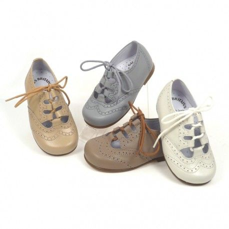 zapato gales para niño o niña sin lengüeta con suela de cuero, un