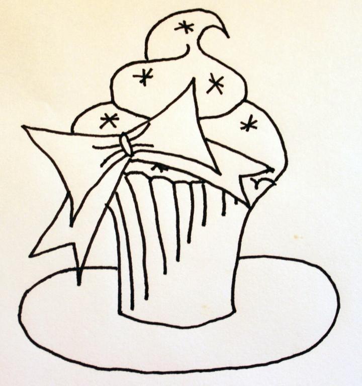 Festive Cupcake-Hand Embroidery Pattern