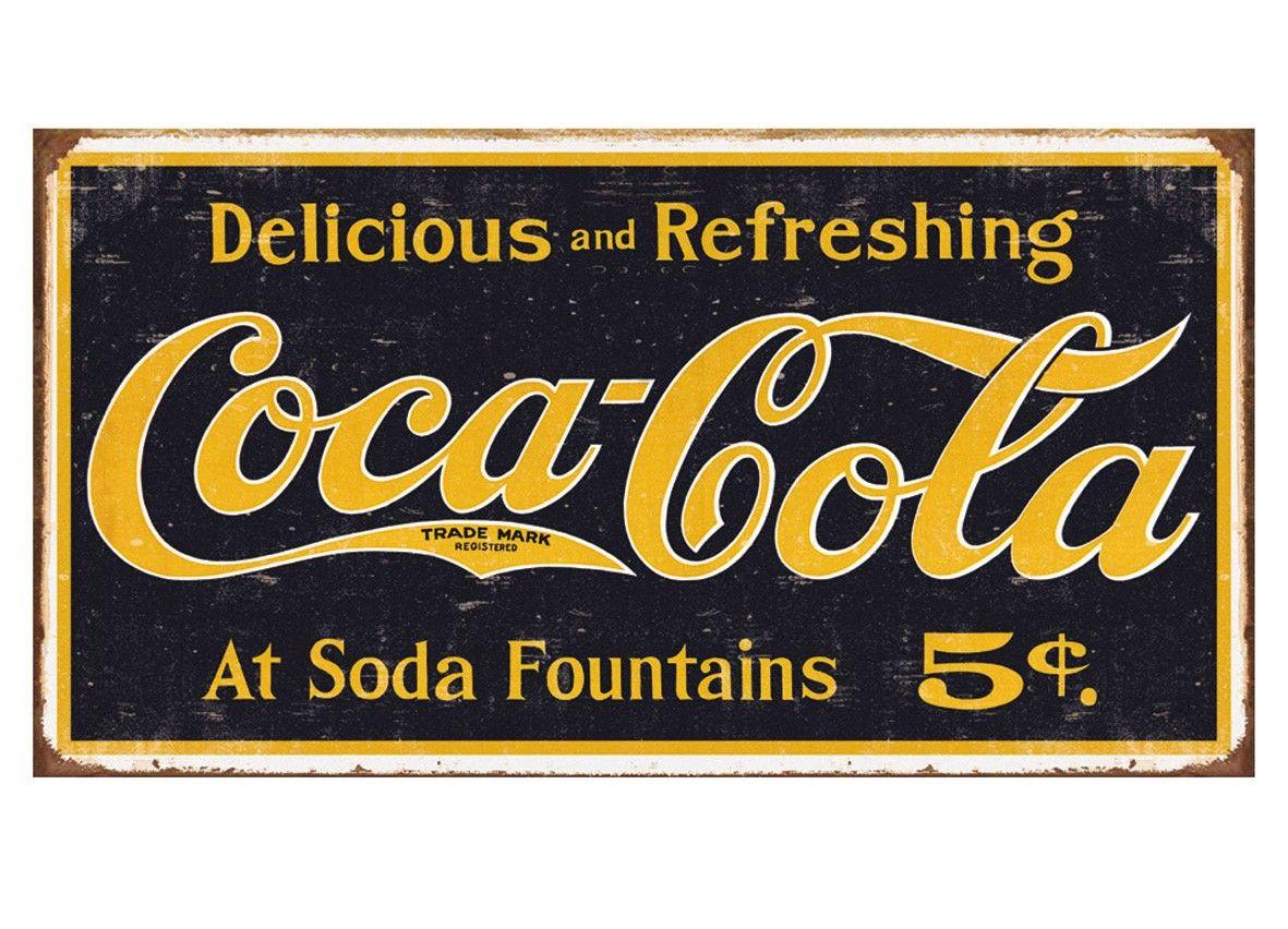 Coca Cola Coke Logo Weathered Tinplate Metal Sign | Tin Plate Metal ...