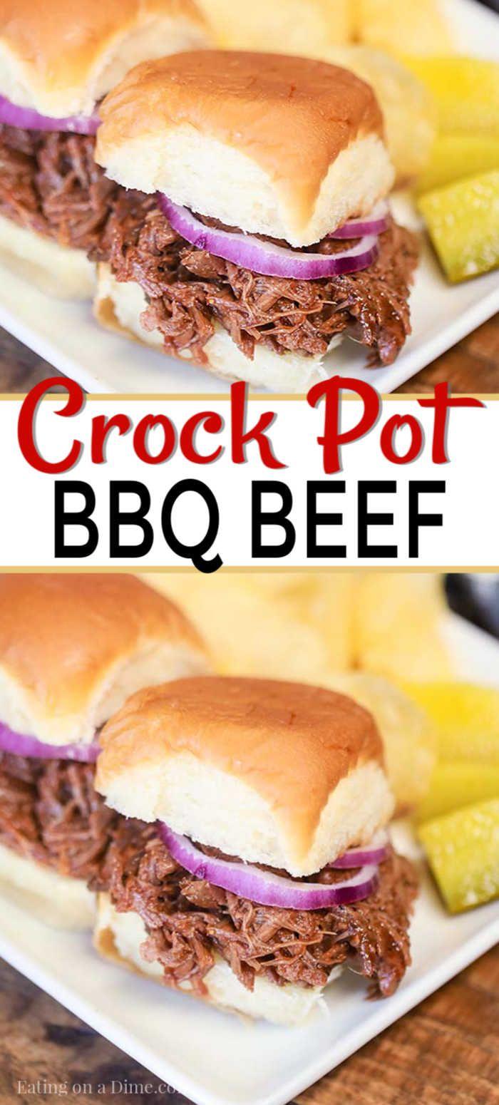 Easy Crock Pot BBQ Beef #slowcookercrockpots