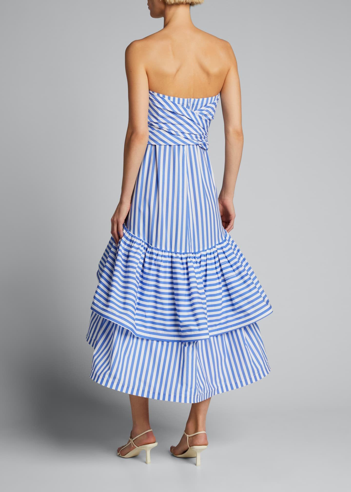 Silvia Tcherassi Striped Strapless Tiered Ruffle Dress Tiered Ruffle Dress Ruffle Dress Dresses [ 2016 x 1440 Pixel ]