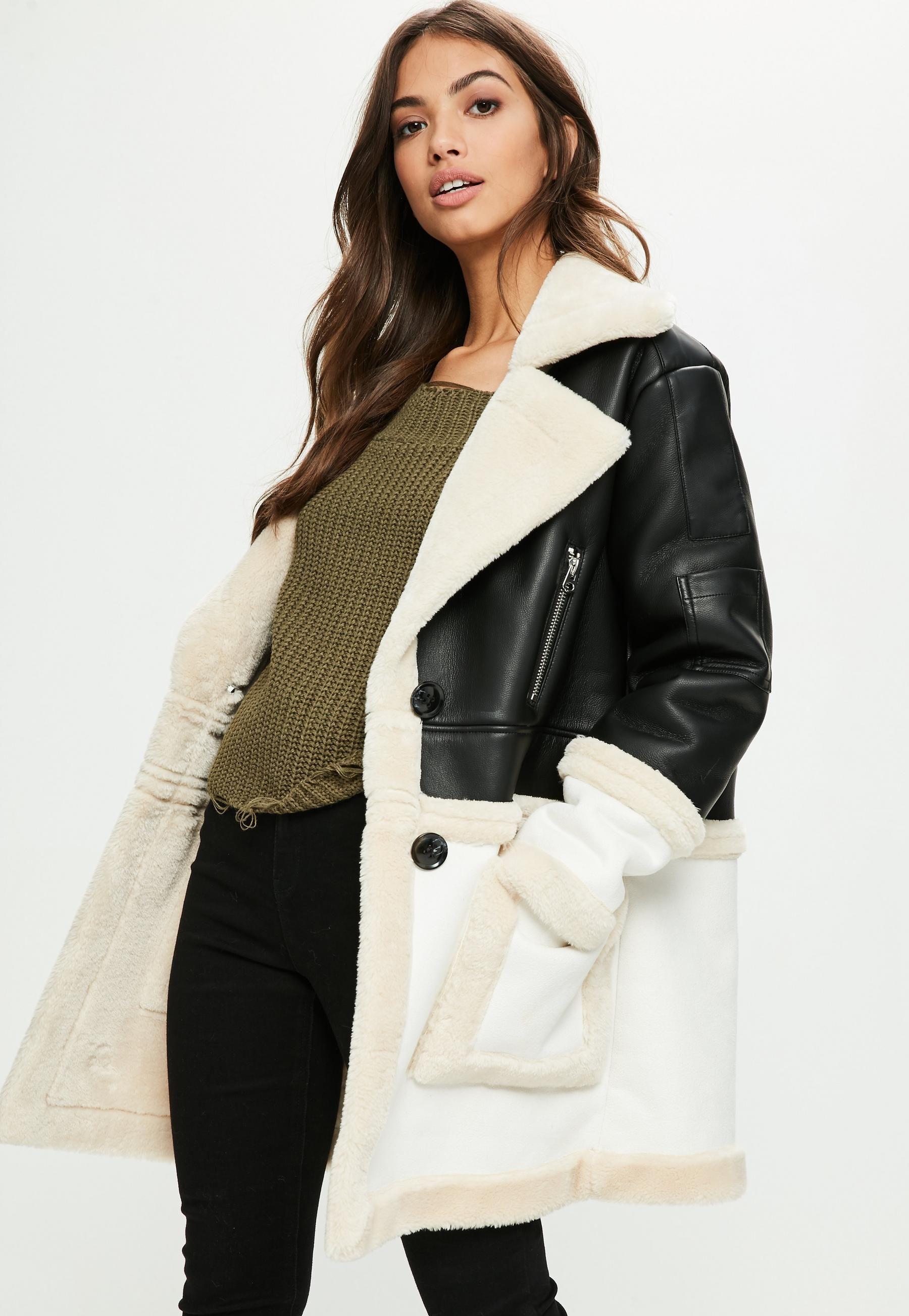 Black Premium Faux Shearling Jacket Missguided Coats