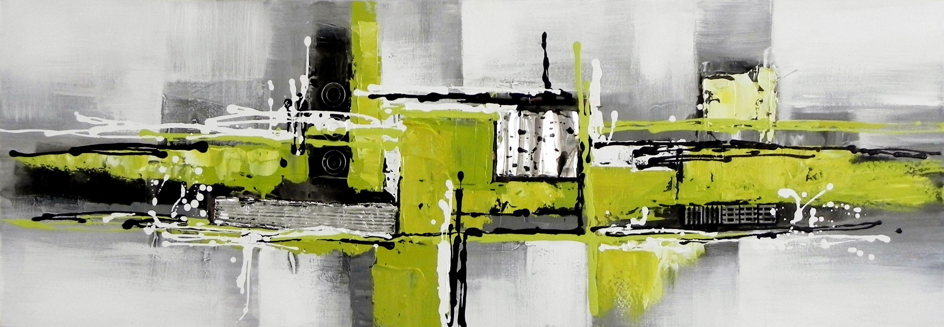toile panoramique abstraite verte et grise a partir de 59 en 30 90 cm huile sur toile sur. Black Bedroom Furniture Sets. Home Design Ideas