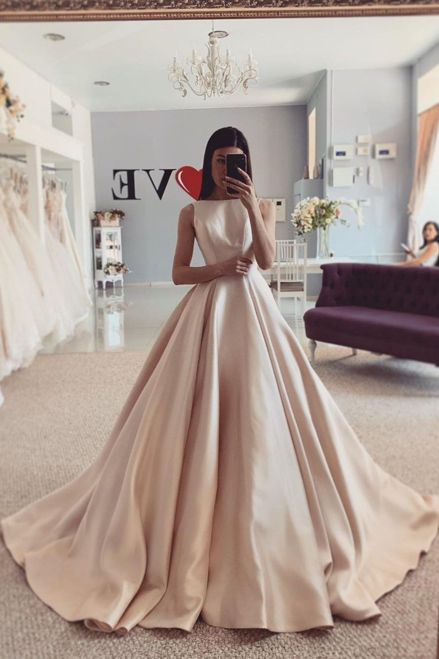 Bateau Satin Simple Champagne Wedding Dresses With Train In 2021 Champagne Wedding Gown Wedding Dress Champagne Satin Champagne Wedding Dress [ 1335 x 890 Pixel ]