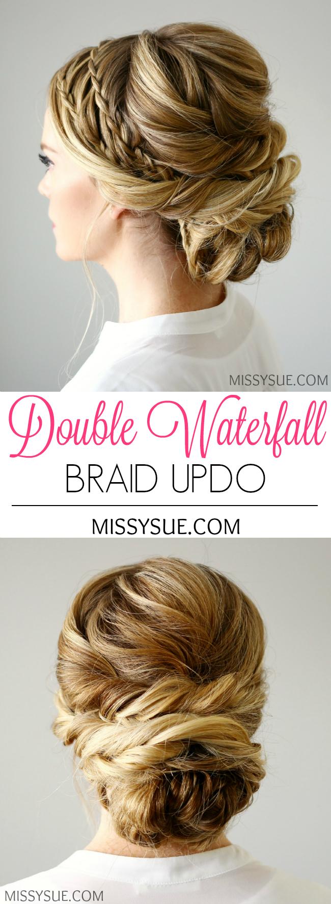 Double Waterfall Braids Updo | Waterfall braid updo, Double ...