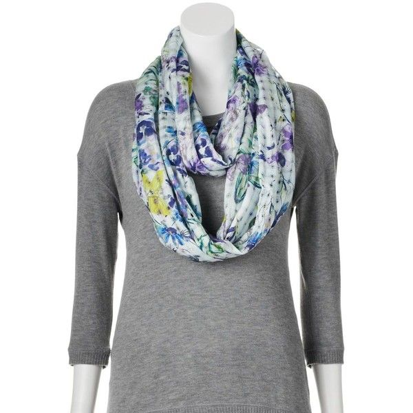 Croft & Barrow Butterfly & Bloom Basketweave Infinity Scarf, Size: One... ($13) ❤ liked on Polyvore