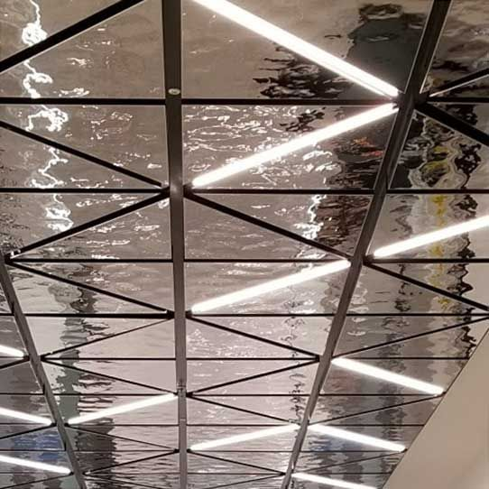 Suspended Ceiling With Spring Technology Ceiling System Lindner Usa Ceiling Cassettes Exyd M Proje In 2020 Lighting Design Interior Ceiling Design Suspended Ceiling