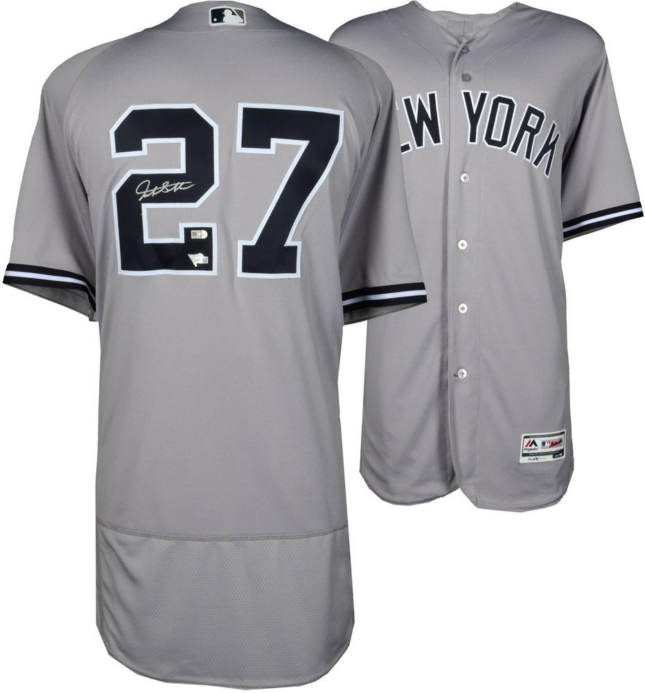 74d5eb2f819 Giancarlo Stanton New York Yankees Autographed Majestic Gray Authentic  Jersey  Baseball