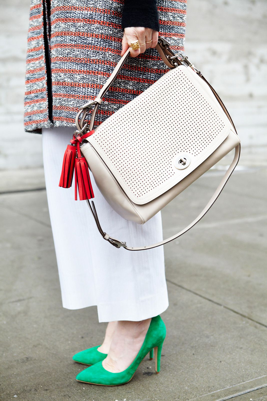 What Our Editors Wore To NYFW #refinery29  http://www.refinery29.com/43013#slide16  How good is that pop of red and green against all that white?