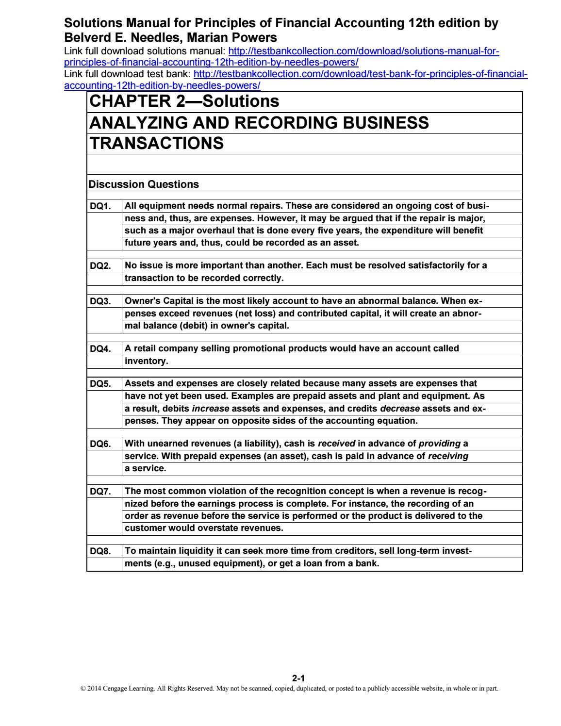 financial accounting questions and solutions
