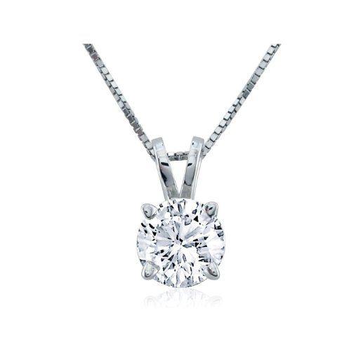 12 carat new 4 prong round diamond pendant in 14k white gold w 16 12 carat new 4 prong round diamond pendant in 14k white gold w aloadofball Choice Image