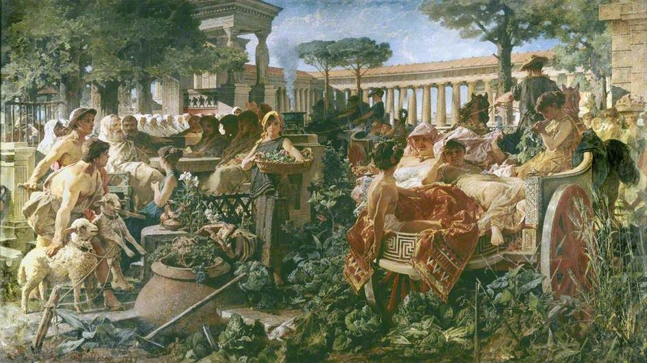 A Pythagorean School Invaded by Sybarites by Michele Tedesco City of London Corporation Date painted: 1887 Oil on canvas, 274 x 495 cm