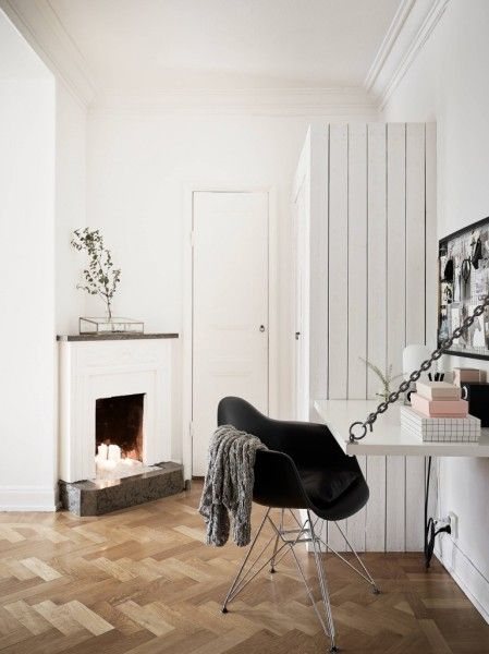 A Little Home Office With Fireplace In The Corner   Scandinavian Interior  Design