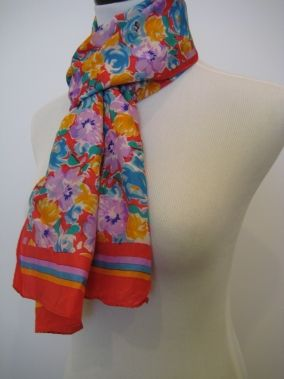 THE SPECIALTY HOUSE SILK RED ORANGE PURPLE MULTI COLOR FLORAL SCARF $49.99