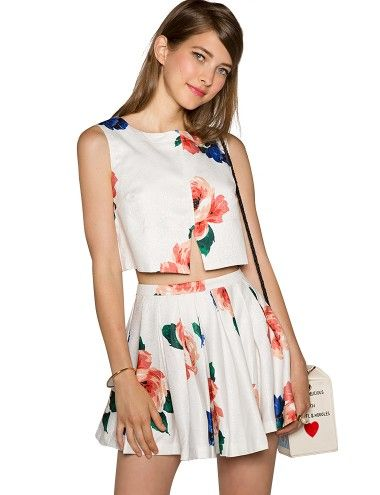 a79f9323278f98 Floral Two Piece Dress - Crop Top Coords Skirt Set -  112