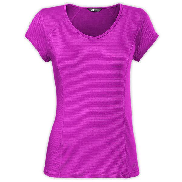 The North Face Women's Short-Sleeve Skycrest V-Neck Tee Shirt ($35) ❤ liked on Polyvore featuring tops, t-shirts, short sleeve tops, purple top, collar t shirt, purple tee and purple v neck t shirt