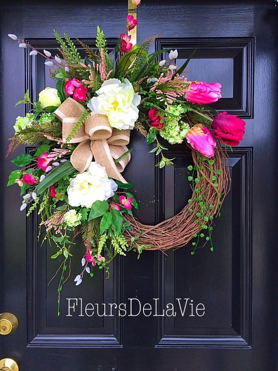 Gorgeous Spring Wreaths To Dress Up Your Front Entrance Summer Wreath Diy Spring Wreath Summer Door Wreaths