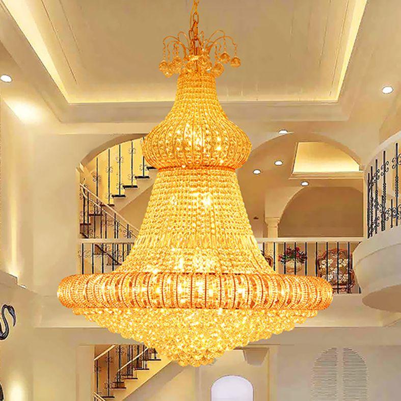LED Crystal Chandeliers Lights Fixture Modern Gold Chandelier Hotel ...