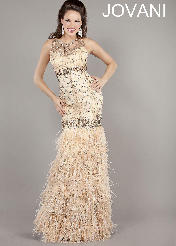 New prom dress jovani blush fringe mermaid evening gown