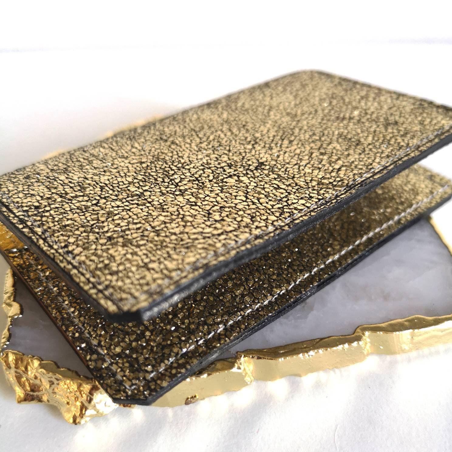 Leather Card Holder Gold Crackle Effect Glitter Porte Carte Cuir