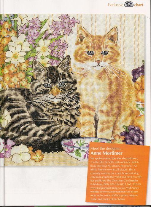 Cross Stitch Cats ANNE MORTIMER Design (1 Chart)