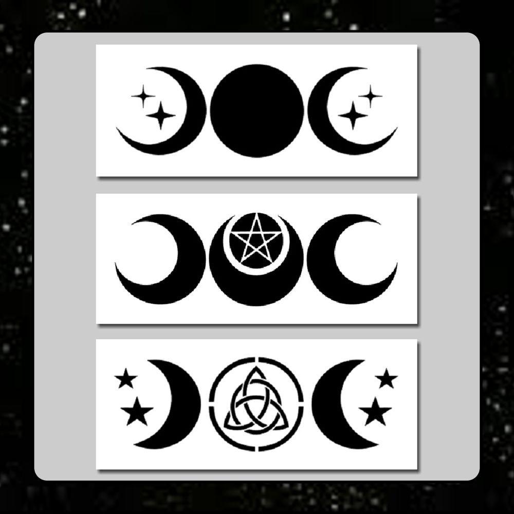 Set 3 Triple Moon Stencils 3 X 7 Each Wiccanpaganstarsgoddess