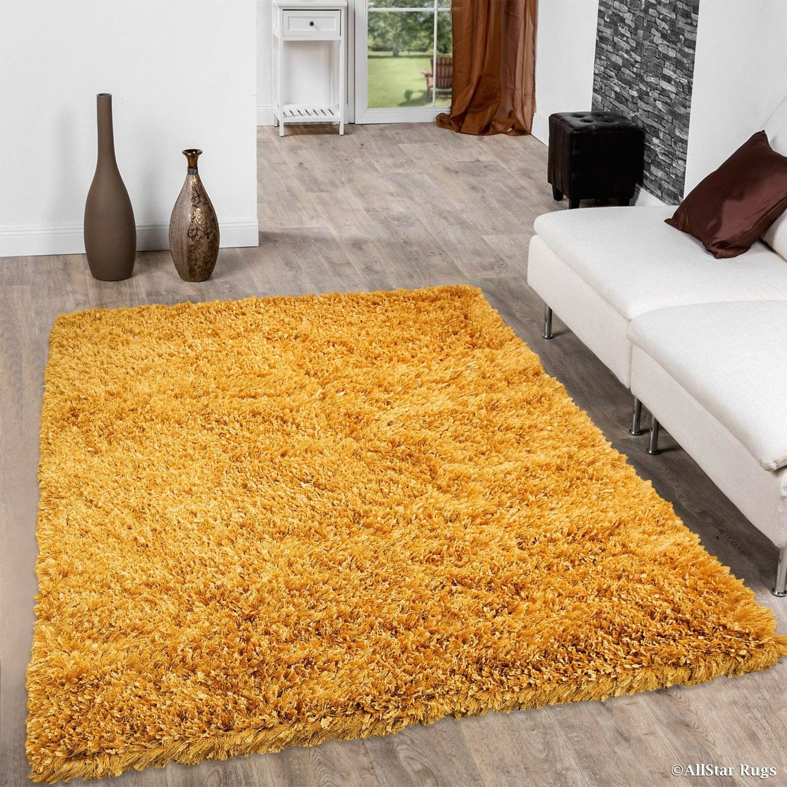 Allstar Mustard Solid Thick Modern Gy Rug 4 11 X 6 Yellow Size 5 7