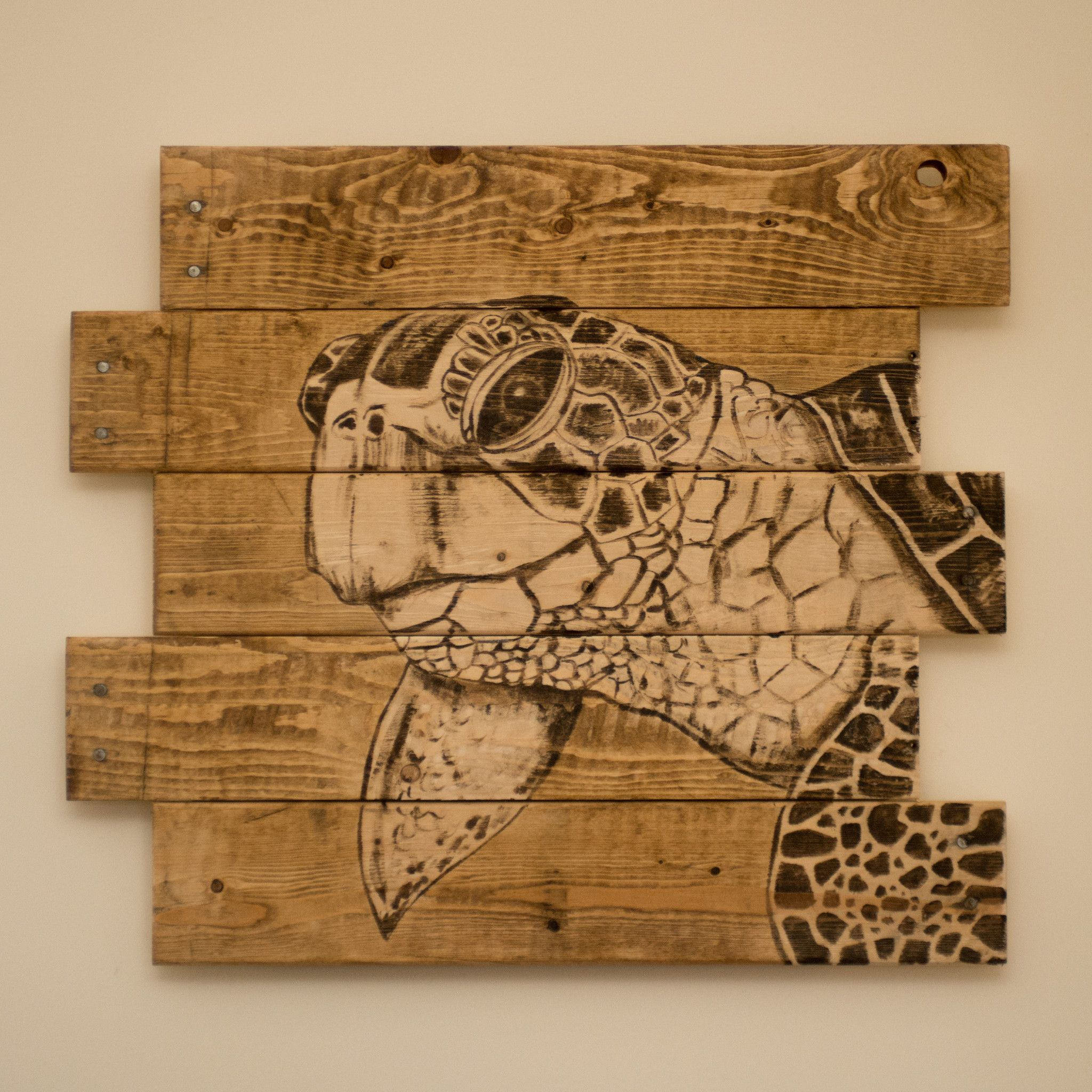 handmade sea turtle wood stain art on pallet wood canvas in 2018