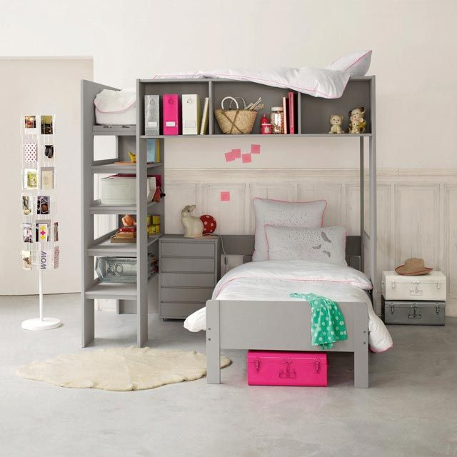 gray bunk bed w storage space for junior hoarders