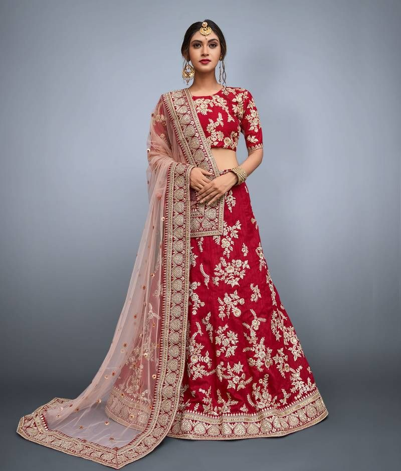c0c47b5ec Visit Mirraw, to shop latest and trendy #MaroonLehenga at lowest cost. Red  Lehenga
