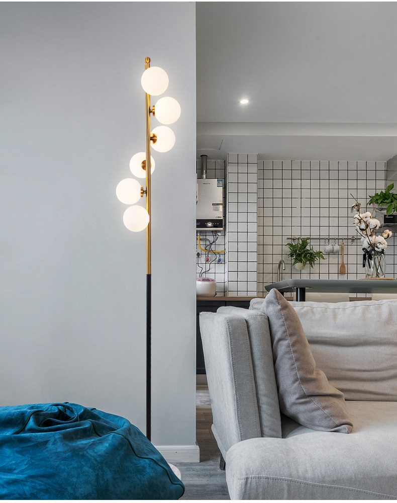 后现代ins北欧风落地灯客厅卧室简约现代个性创意玻璃球立式台灯配原装