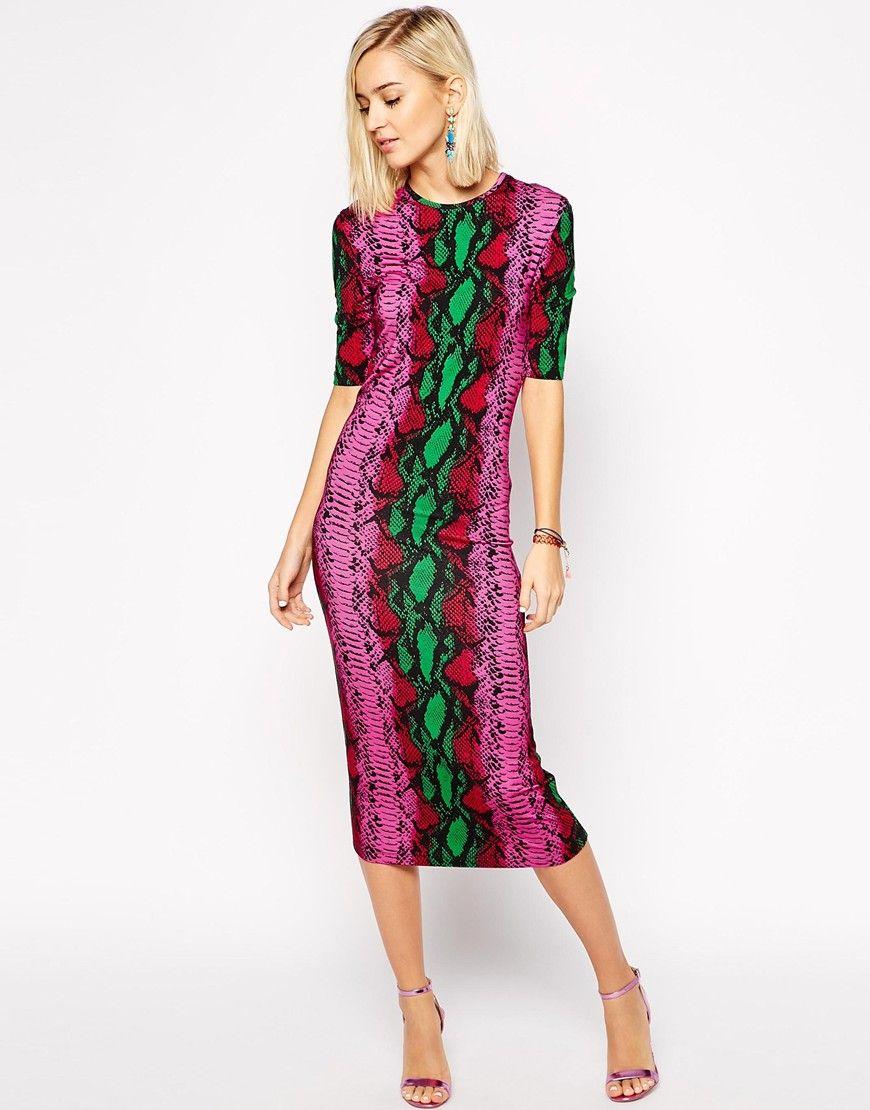 Enlarge House of Holland Midi Dress in Snake Print ...