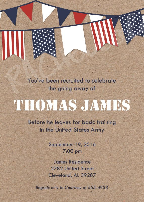 Military Going Away Party Invitation Rustic Kraft Flag Retirement