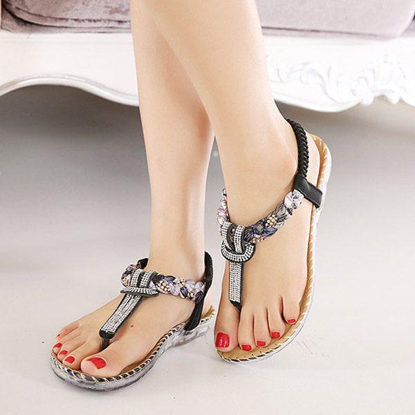 Bohemian style comfortable elastic summer beaded flat sandals for women