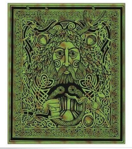 Greenmanceltic Druid Knotwork Huge Tapestrywall Hangingbedspread