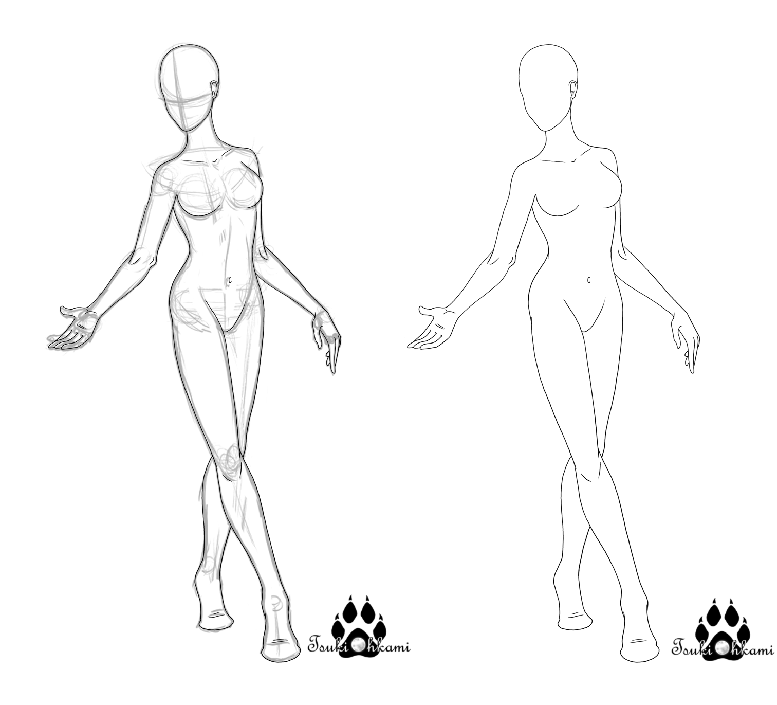 Female Base Pose Doublet Read Description By Tsukiohkami Http Www Deviantart Com Order 5 Q Female Base Lineart Female Base Drawing Base Furry Art
